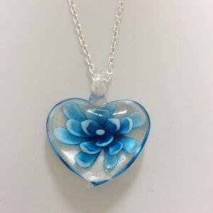 Jewelry - Murano style beautiful glass blue flower necklace